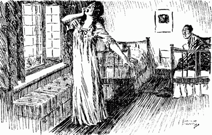 Lady stretching in fron of open window while man looks on from in bed.png